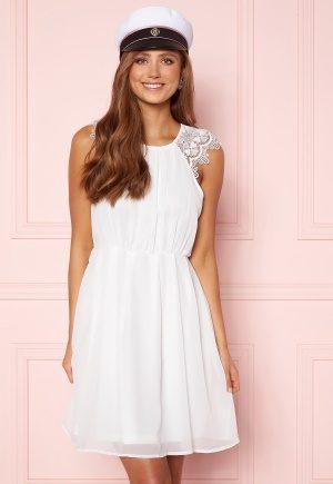 AX Paris Lace Trim Skater Dress White/Black Glitter XS (UK8)