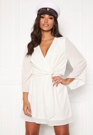 AX Paris Tie Waist Deep V Dress White XXS (UK6)