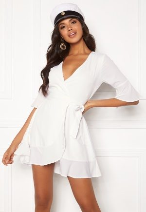 BUBBLEROOM Edie wrap dress White 38