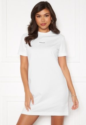 Calvin Klein Jeans Branding T-Shirt Dress Bright White L