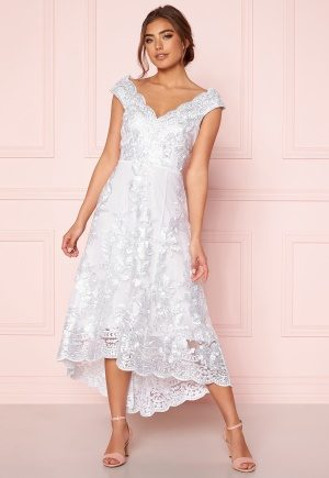 Goddiva Embroidered Lace Dress White XL (UK16)