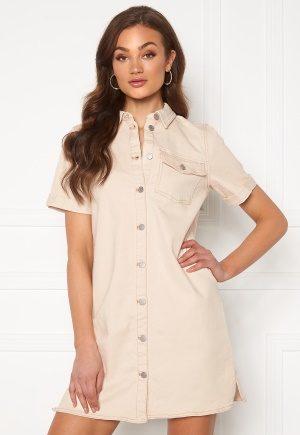 VILA Glove S/S Denim Dress Whisper White L